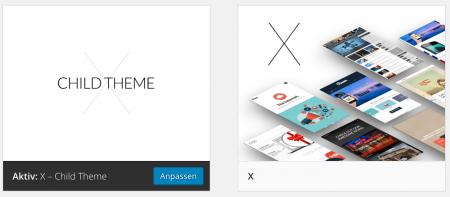 WordPress Theme X in der Child-Theme Konfiguration