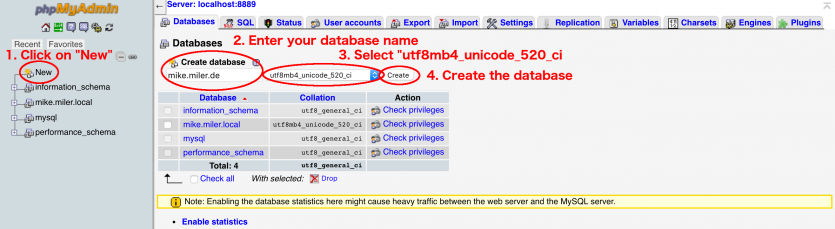 Create new database with phpmyadmin