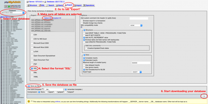 Export database with phpMyAdmin