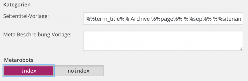 Indexierung von Kategorien in WordPress zulassen
