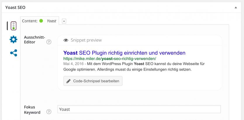 Meta Titel und Beschreibung für WordPress Beitrag mit Yoast SEO